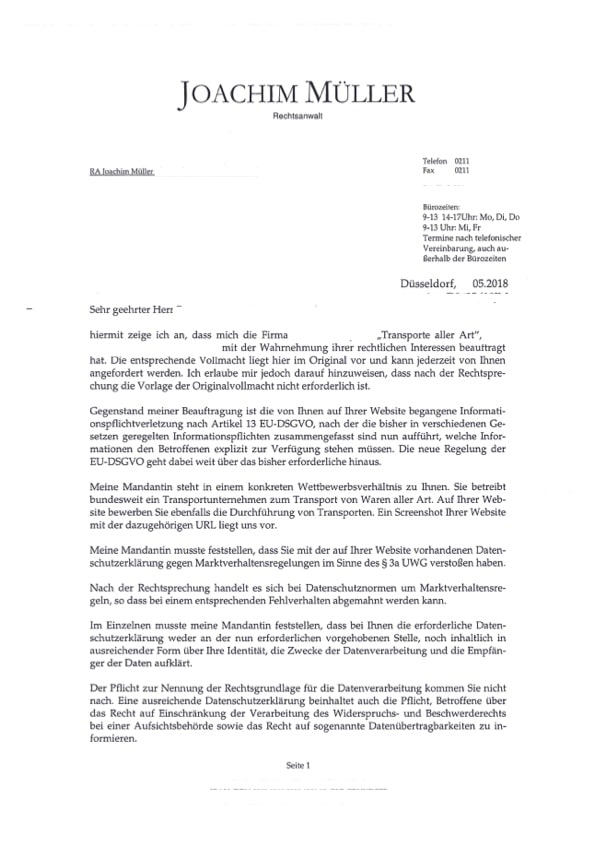Abmahnung Dsgvo Rechtsanwalt Joachim Müller Was Tun Brr
